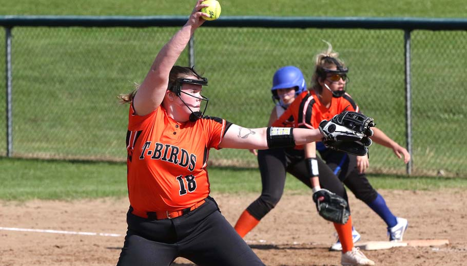 Lizzie Jones pitches for Iola-Scandinavia against Amherst.Holly Neumann Photo